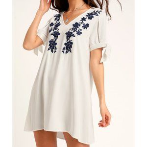 Lulus Ambrosia Embroidered Tie Sleeve Dress Small